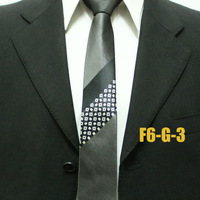 Mens Neck Ties For Men Grey With Black Grid Geometric Skinny Neckties F6-G-3 Free Shipping