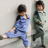Free shipping new  2014 Cotton suit children suit cotton and linen suit children clothes
