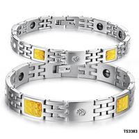 Opk fashion accessories rhinestone gold fiber magnetic health care titanium lovers bracelet n3383