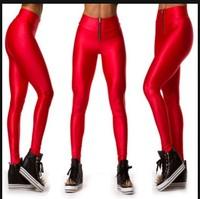 Candy Colors Women's High-Waist Leggings Fashion Zip Up Pencil Pants Elastic Skinny Trousers KD-001