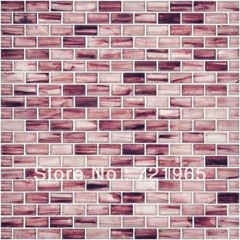 Stained glass mosaic kitchen backsplash tile igmt093 brick - Purple kitchen wall tiles ...