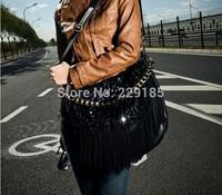 women bag new 2014 fashion black sequined tassels bag  PU leather handbag chain shoulder bag Messenger bag free shipping B008