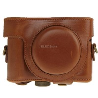 New Arrival Leather Camera Case Bag for Sony HX50 (Brown)Free Shipping