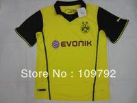 Borussia Dortmund 13/14 UEFA CHAMPIONS LEAGUE yellow best thai quality soccer jersey, BVB football jersey , Embroidered logo
