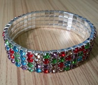 Hot! 4 row Crystal Colorful Bracelet  Flexible & Longer than Usual more fit for Europe and the United States Free shipping