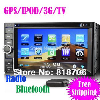 "universal 6.2"" Car Radio 2 din GPS Navigation Car DVD/USB/SD Player With 3G IPOD TV BT RDS ks890"
