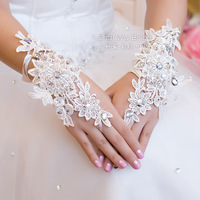 Lace flower full rhinestone lucy refers to wedding gloves the bride accessories laciness cutout short gloves female