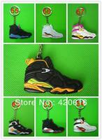 Free Shipping 15 pcs/lot Air Jordan VII AJ7+ VIII AJ8 Generation Men's Sneaker Shoes Silicon Rubber Ring Keychain Gift Wholesale