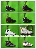Free Shipping 21 pcs/lot Air Jordan VII AJ7+ VIII AJ8+IX AJ9 Generation Men's Sneaker Shoes PVC Rubber 2D Ring Keychain Gift