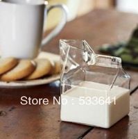 Wholesale free shipping creatived half pint milk box glass fashion milk cup for breakfast brief glass mini carton creamer