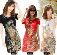 On sale big summer short-sleeve T-shirt embroidery plus size clothing medium-long slim one-piece dress