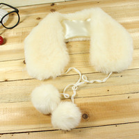 Free Shipping 2013 false collar  sphere cape muffler scarf lace collar faux fox fur X'mas Gift