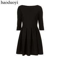 Haoduoyi2012 elegant slim hepburn black three quarter sleeve one-piece dress 6 full
