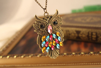 Free Shipping 2013 fashion vintage owl design long gem necklace accessories jewelry female X'mas Gift