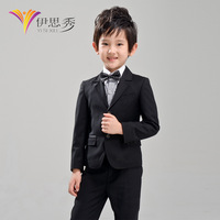 Male child suit child black classic formal dress thickening flower girl formal dress