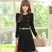 Autumn 2013 AYILIAN slim button elegant plus size clothing long-sleeve dress spring and autumn