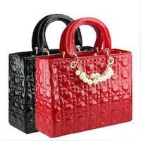 0610 New 2013 wholesale Noble black Elegant pearls decoration bags classical plaid bag women handbag