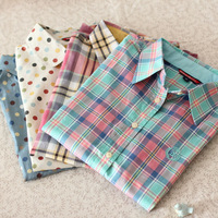 Autumn small fresh plaid british style polka dot long-sleeve shirt female