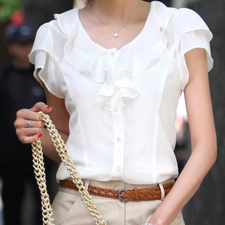 2014 Spring Summer New Women Clothing Girl Casual Bow tie Short Sleeve Chiffon Blouse & Shirt Office Lady Ruffles Formal Tops(China (Mainland))