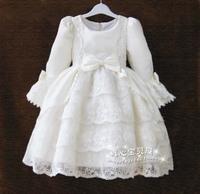 Autumn and winter puff dress one-piece dress long-sleeve flower girl formal dress children's clothing female child princess