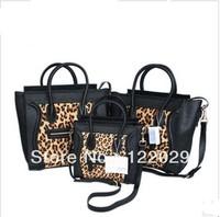 Free shipping fashion luxury horsehair leopard print smiley tote bag women's genuine leather handbag rabbit fur messenger bag