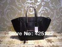 TOP Lady FASHION genuine leather bat bag/smile face handbag/169853 tote/black shoulder