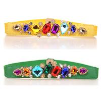 2013 multicolour crystal women's belt fashion all-match rhinestone gem cummerbund elastic strap x43