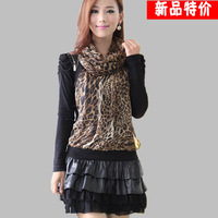 Fashion leopard print one-piece dress basic patchwork long-sleeve dress fashion one-piece dress spring and autumn