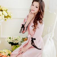 Women spring and autumn long-sleeve faux silk medium-long robe bathrobe bathrobes sexy sleepwear cg0268
