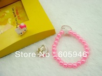 Kity ear clip E102 exports three-piece children's jewelry pink pearl bracelet
