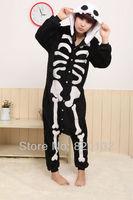 Hot Sale Coral Fleece Animal Sleepwear Jumpsuit Skeleton Cosplay Pajamas Christmas Halloween Cosplay Costume,Free Shipping