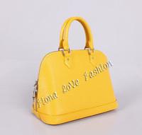 Excellent ! Famous brand designer yellow EPI leather alma MM handbag M40619 aIma medium tote