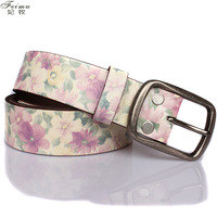 Feimu flower genuine leather women's genuine leather belt vintage cowhide strap Women broadened lengthen