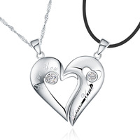 Jpf lovers necklace love expression lovers pendant 925 pure silver necklace female lovers necklace