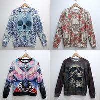 Autumn HARAJUKU diamond skull series pullover sweatshirt female lovers design 3