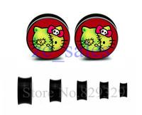 60pcs wholesale ear expander saddle flesh tunnel hello kitty picture ear plug gauges body jewelry mix 10 sizes ASP004