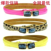 Hot-selling buckle rhinestone women's thin belt cummerbund japanned leather cowhide belt genuine leather strap