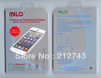 1pc freeshipping premium tempered glass screen guard for iphone 4 4s,milo 2nd gen 0.4mm thick shatterproof screen,w/retail box,