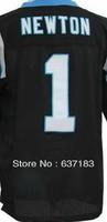 Wholesale 2013 Man New Cheap Carolina QB #1 Cam Newton Black/Blue/White American Football Elite Sport Jersey,Embroidery Logo