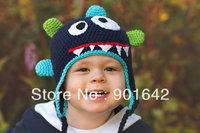 1PC Retail Monster hat, Boy Crochet little monster, Bug eyed Monster Crochet childrens hat,Photography prop monster hat Newborn