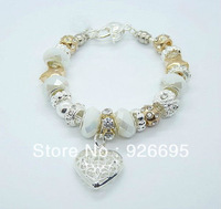 NEW arrival ! FREE SHIPPING! Factory price Wholesale European Murano Glass Beads solid 925 sterling Silver Charm Bracelet BB049