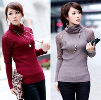 2013 New Design 4 Colors Lace Cotton Slim Turtleneck Women's Winter Sweaters Ladies Pullovers