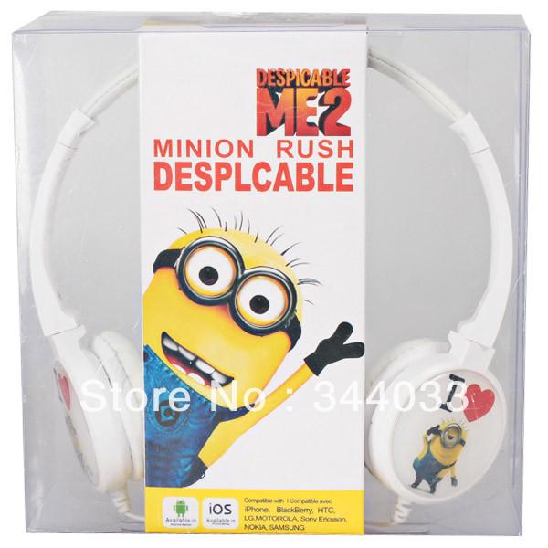 Popular Despicable Me Cartoon Figure I Love You Pattern Headphone White Free shipping(China (Mainland))