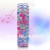 Colorful Stainless Steel RED LED Digital  Bracelet Watch  Free Shipping