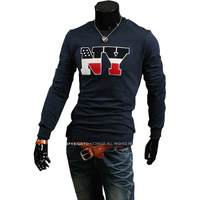 New Men's Crew Neck Fashion Wild Thick Embroidery Silm Long Sleeve T-shirt MF-51269