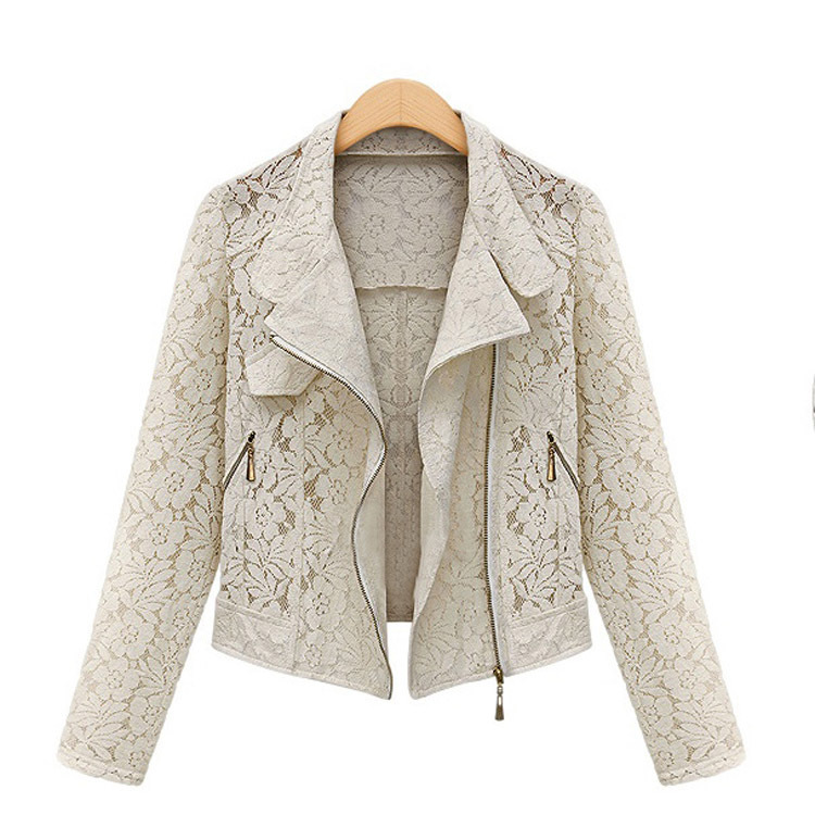 Women's Boutique Fashion Lace Hollow Metal Zipper Was Thin Lapel Long Sleeve Jacket GWF-66251(China (Mainland))