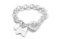 Brand New 2013 Factory Directly selling,925 sterling silver plated fashion bracelet Jewelry.Dog tag 'to' bow bracelet.