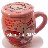 Hello Kitty Milk Cup Beautiful And Creative  Ceramic Mug Coffee Cup  With Cereamic Lid Pink Color (1 piece) Free Shipping