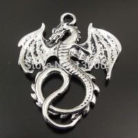 Fashion Jewelry Vintage Silver Legend Fancy Fly Dragon  Alloy  Floating Locket Charms Pendants DIY Jewelry  Findings 50PCS Z1331