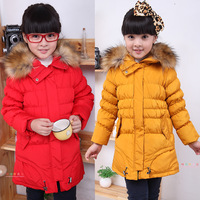 1 PC Best Selling Girls Winter Down Jacket Coat Girls Parkas Warm Outerwear Duck Faux Fur Design TT5324